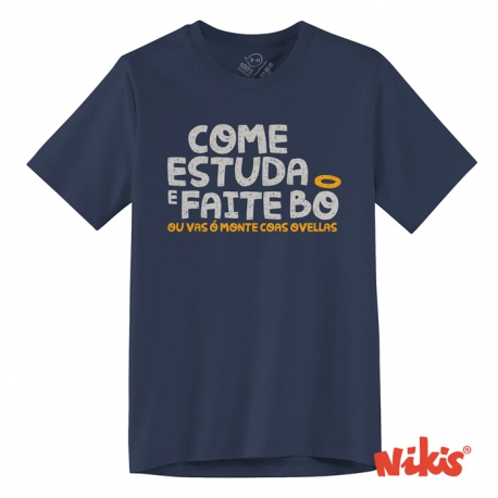 Camiseta Come, estudia e faite bo