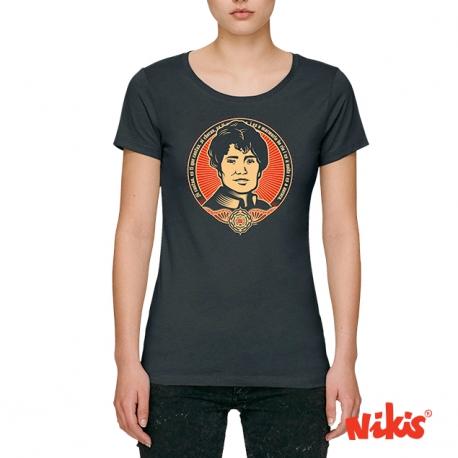 Camiseta Rosalía Negra Sombra moza escote