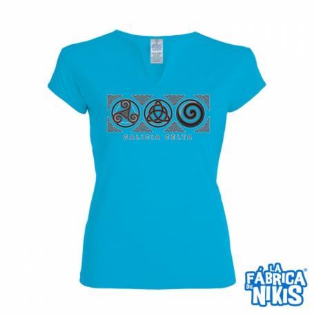 Camiseta Tres Simbolos Celtas chica turquesa Santiago