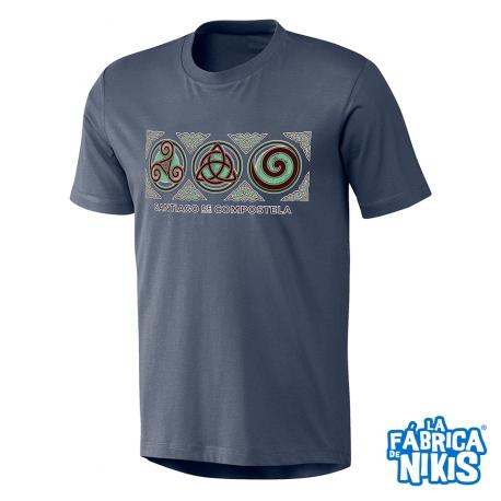 Camiseta Tres Símbolos Celtas denim Santiago
