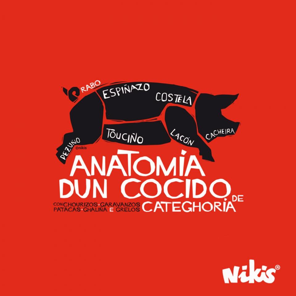Nikisgalicia CHICO - CAMISETAS Camiseta Anatomia dun Cocido