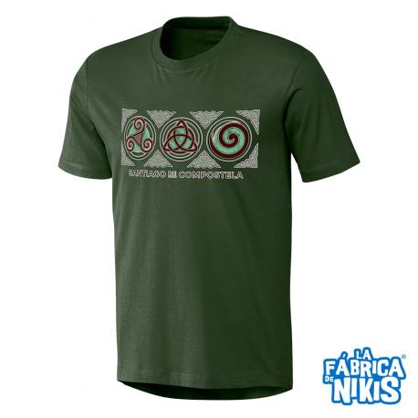 Camiseta Tres Símbolos Celtas verde botella
