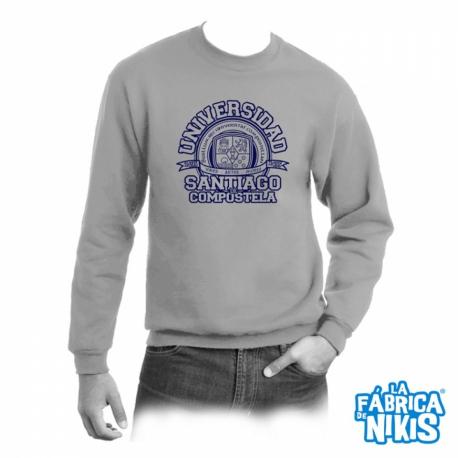 Sudadera cuello Logo Universidad gris