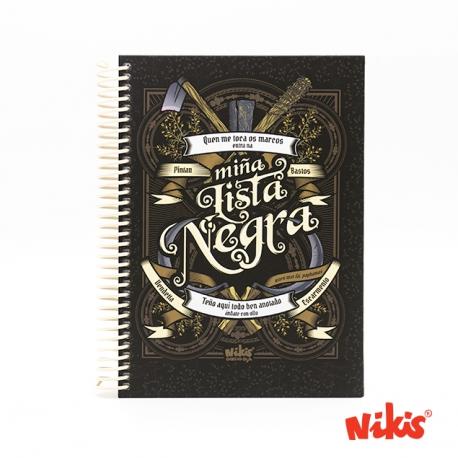 Caderno espiral Lista Negra