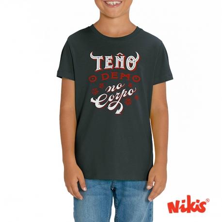 Camiseta Teño o Demo no corpo neno