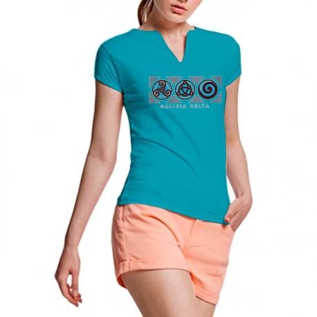 Camiseta 3 Símbolos Turquesa Galicia