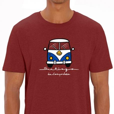 Camiseta Furgo a Santiago unisex burgundy