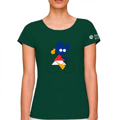 Camiseta Bici Pelegrín Verde Mujer