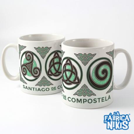 Taza Tres Símbolos Celtas verde